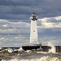 Sodus Outer Lighthouse On Stormy Lake by Richard Cummins