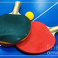 Soft Dreamy Ping-pong Bats Table Tennis Paddles Rackets On Blue by Beverly Claire Kaiya