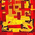 Soft Geometrics Abstract In Red And Yellow Impression I by Irina Sztukowski