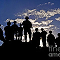 Soldiers Watch Troop Movements At Fort by Stocktrek Images