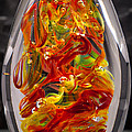 Solid Glass Sculpture - 13e8 - Extreme Flames by David Patterson