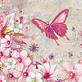 Sophisticated Elegant Whimsical Pink Butterfly Floral Flower Art Springs Joy By Megan Duncanson by Megan Duncanson