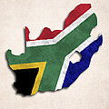 South Africa Map Art With Flag Design by World Art Prints And Designs