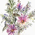 South African Daisies And Lavander by Claudia Hutchins-Puechavy