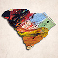South Carolina Map Art - Painted Map Of South Carolina by World Art Prints And Designs