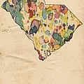South Carolina Map Vintage Watercolor by Florian Rodarte