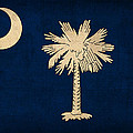 South Carolina State Flag Art on Worn Canvas by Design Turnpike