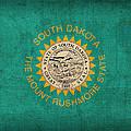 South Dakota State Flag Art On Worn Canvas by Design Turnpike