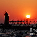 South Haven Lighthouse At Sunset 1 by Nancy Mueller