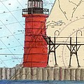 South Haven Lighthouse Mi Nautical Chart Map Art Cathy Peek by Cathy Peek
