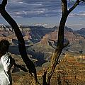 South Rim Grand Canyon Sunset Light On Rock Formations With Woma by Jim Corwin