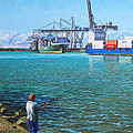 Southampton Western Docks Container Terminal As Seen From Marchwood by Martin Davey