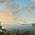 Southern Mediterranean Seascape With Boats And Figures At Sunset by Adrien Manglard