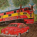 Southern Pacific Train 1951 Kaiser Frazer Car Rr Crossing by Kathy Marrs Chandler
