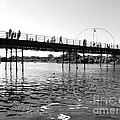Southport Pier Across The Marine Lake Bw by Joan-Violet Stretch