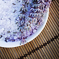 Spa setting with lavender bath salt by Mythja  Photography