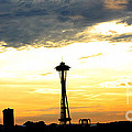 Space Needle Sunset Sillouette by Nick Gustafson