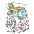 Spaniel In The Captains Cap. Vector by Vitaly Grin