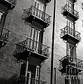 Spanish Balconies - Black And White by Carol Groenen
