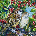 Sparrows On The Hawthorn by Zaira Dzhaubaeva