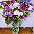 Special Bouquet In Crystal Vase On Heirloom Table by Gail Darnell
