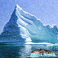 Sperm Whale Fluke In Front Of Iceberg by Liz Leyden