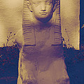 Sphinx Statue Blue Yellow And Lavender Usa by Sally Rockefeller