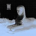 Sphinx Statue Three Quarter Profile Blue Glow Usa by Sally Rockefeller