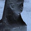 Sphinx Statue Torso Blue And Gray Usa by Sally Rockefeller