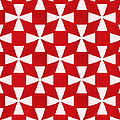 Spice Twirl- Red And White Pattern by Linda Woods