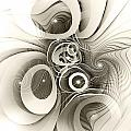 Spiral Mania 2 - Black And White by Klara Acel