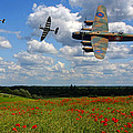 Spitfires Lancaster And Poppy Field by Ken Brannen