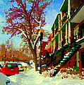 Splendor And Colors Of Quebec Winters Verdun Montreal Urban Street Scene Carole Spandau by Carole Spandau
