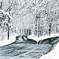 Split Snowy Road by Birgit Tyrrell