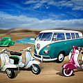 Splitty Vw Beetle And Scooters by Linton Hart