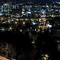 Spokane Washington Skyline At Night by Daniel Hagerman