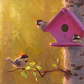 Spring Chickadees 1 - Birdhouse And Birch Forest by Karen Whitworth
