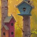Spring Chickadees 2 - Birdhouse And Birch Forest by Karen Whitworth