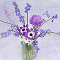 Spring Flowers In A Jam Jar by Ann Garrett