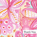 Spring Flowers Thank You Card by Linda Woods