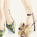 Spring Shoes Watercolor Fashion Illustration Art Print by Beverly Brown