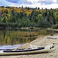 Squareback Canoe With Engine by Les Palenik