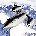 Sr-71 Over Snow Capped Mountains by R Muirhead Art