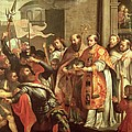 St. Bernard Of Clairvaux 1090-1153 And William X 1099-1137 Duke Of Aquitaine Oil On Canvas by Martin Pepyn or Pepin