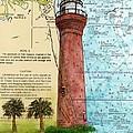 St Johns River Lighthouse Fl Nautical Chart Map Art Cathy Peek by Cathy Peek