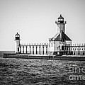 St. Joseph Lighthouses Black And White Picture  by Paul Velgos