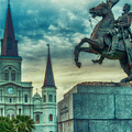 St. Louis Cathedral And Andrew Jackson- Artistic by Kathleen K Parker