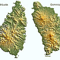 St Lucia And Dominica Map by Duane McCullough