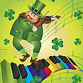 St Patricks Day Leprechaun Dancing On Piano Keyboard by Jit Lim