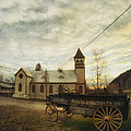 St. Pauls Anglican Church With Wagon  by Priska Wettstein
